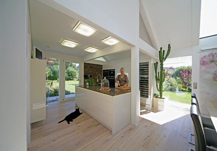A dream come true: the perfect house for a waterlily pond – swimming pool! by DAVINCI HAUS GmbH & Co. KG Сучасний