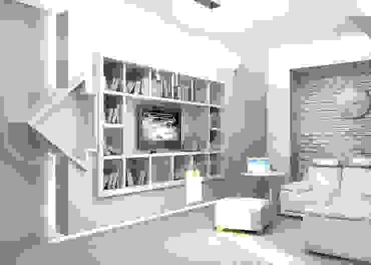 Квартира <q>TOTAL WHITE</q> Гостиная в стиле минимализм от ЙОХ architects Минимализм
