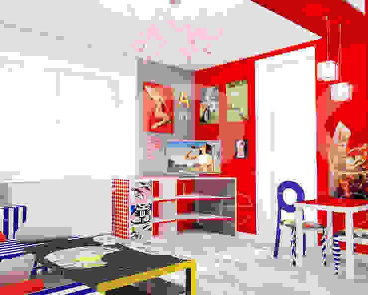 Квартира <q>POPart&cocaCOla</q> Гостиные в эклектичном стиле от ЙОХ architects Эклектичный