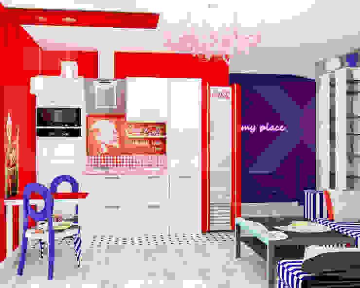 Квартира <q>POPart&cocaCOla</q> Кухни в эклектичном стиле от ЙОХ architects Эклектичный