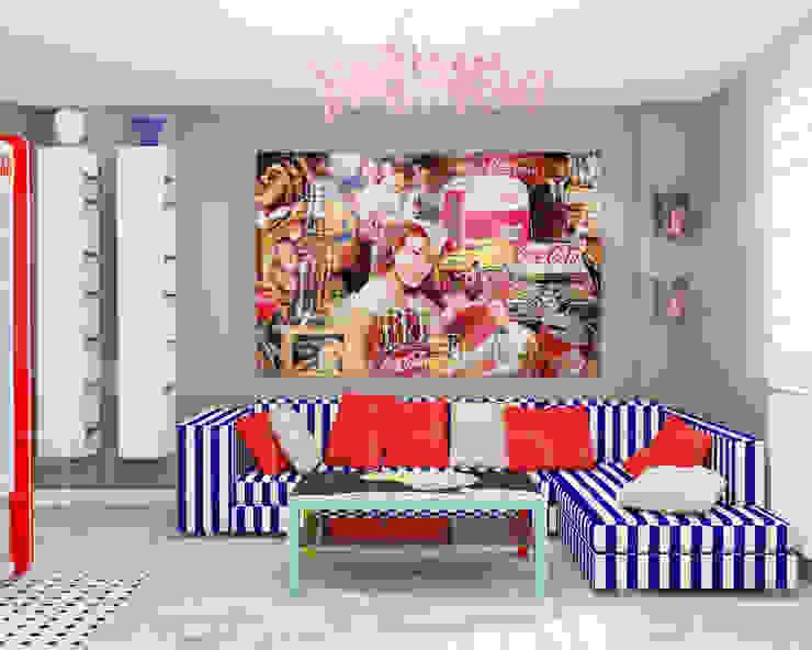 """Квартира """"POPart&cocaCOla"""" Гостиные в эклектичном стиле от ЙОХ architects Эклектичный"""