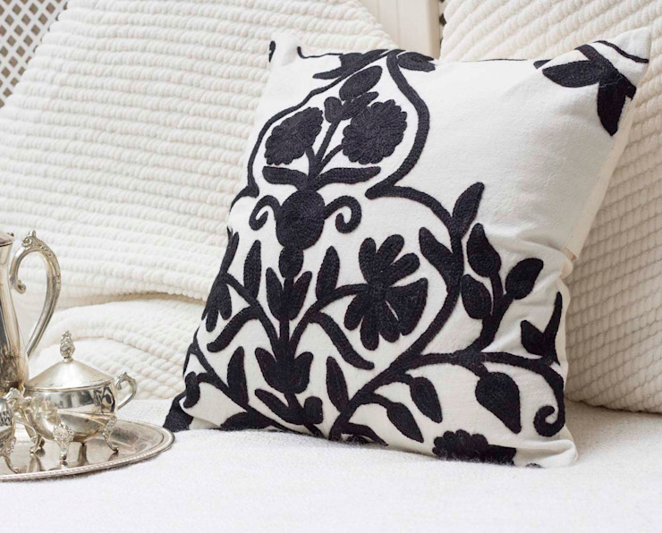 Crewel Embroidered Decorative Pillow Floral: asian  by DesignRaaga, Asian