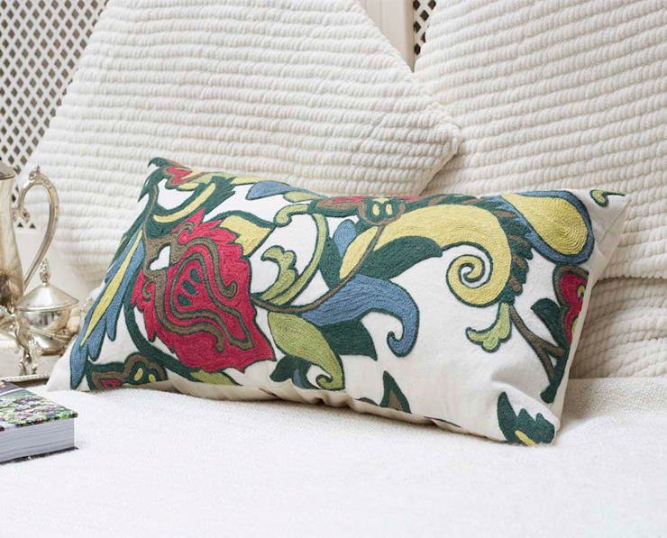 Wool Embroidered Decorative Pillow Floral: asian  by DesignRaaga, Asian