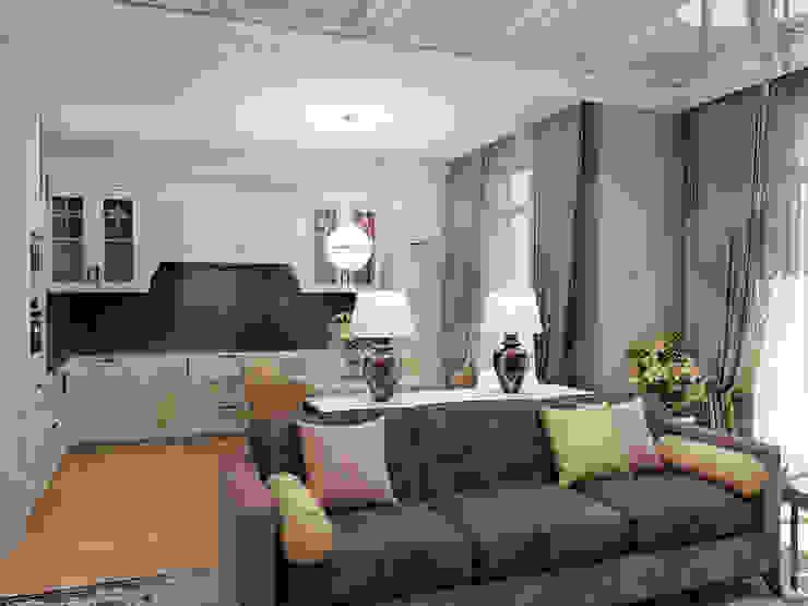 Квартира <q>Райские птицы</q> Гостиные в эклектичном стиле от ЙОХ architects Эклектичный