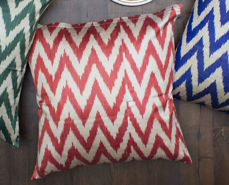 Ikat Large Floor Pillow Red: eclectic  by DesignRaaga, Eclectic