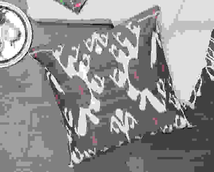 Ikat Large Floor Pillow Grey: eclectic  by DesignRaaga, Eclectic