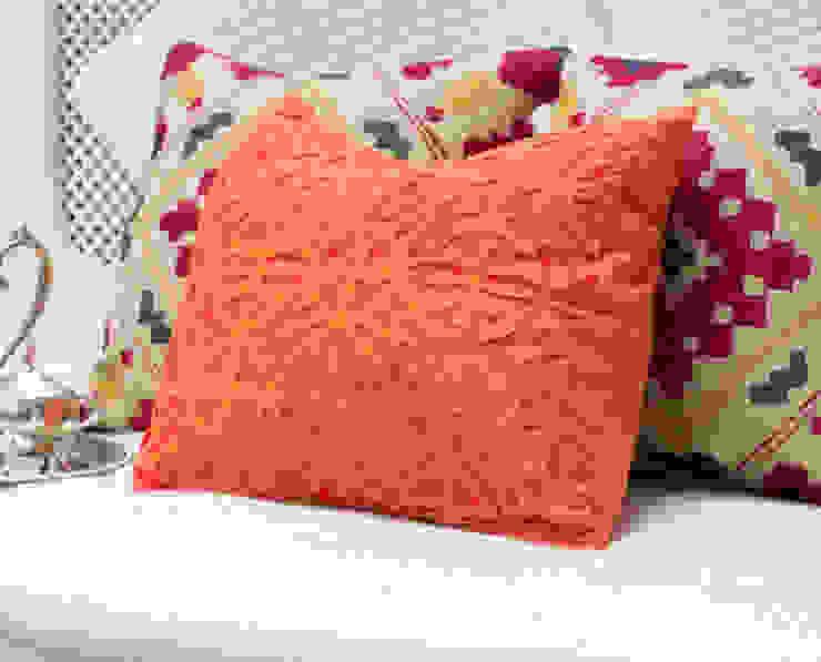 Orange Applique Cotton Pillow : asian  by DesignRaaga, Asian