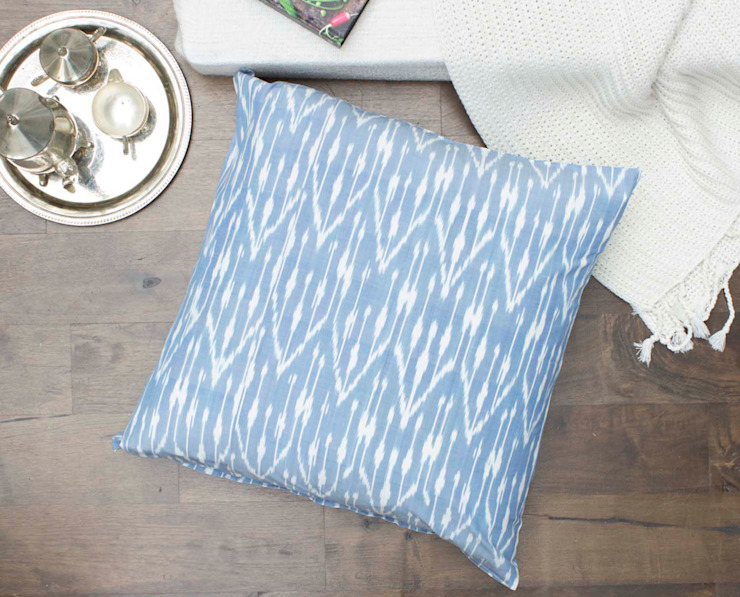 Ikat Large Floor Pillow Baby Blue: eclectic  by DesignRaaga, Eclectic