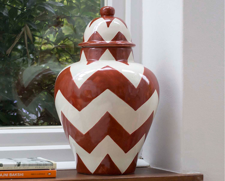Ginger Jar Red Chevron: eclectic  by DesignRaaga, Eclectic