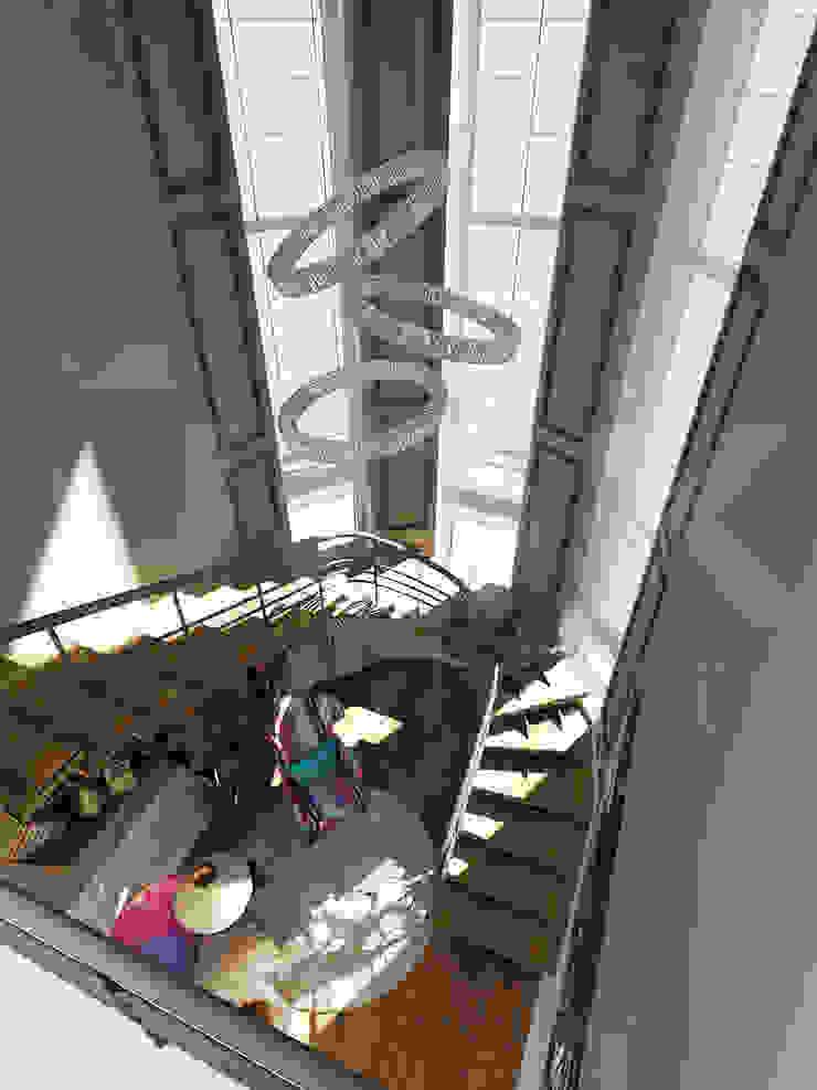 Коттедж <q>Голубое озеро</q> Коридор, прихожая и лестница в эклектичном стиле от ЙОХ architects Эклектичный