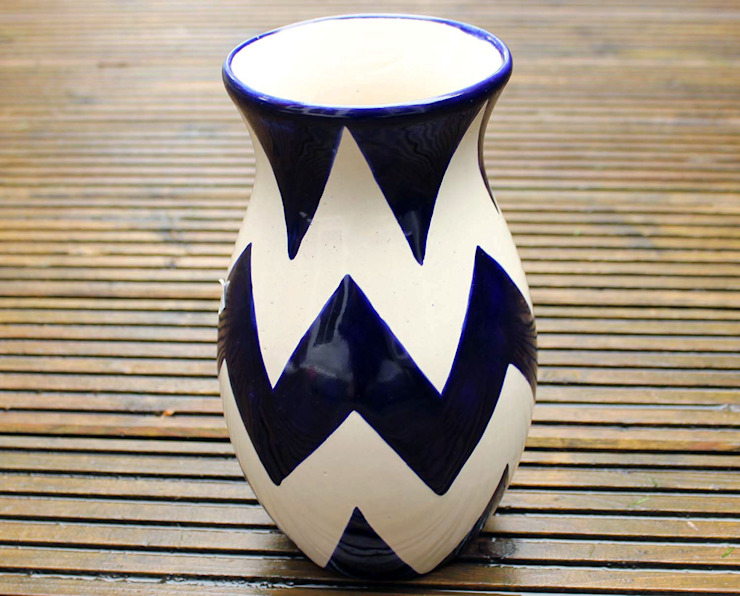 Talavera Vase Blue Chevron: modern  by DesignRaaga, Modern