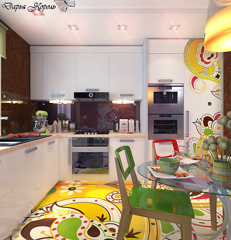 Apartment in paisley. Kitchen, living room, hallway Кухня в стиле минимализм от Your royal design Минимализм