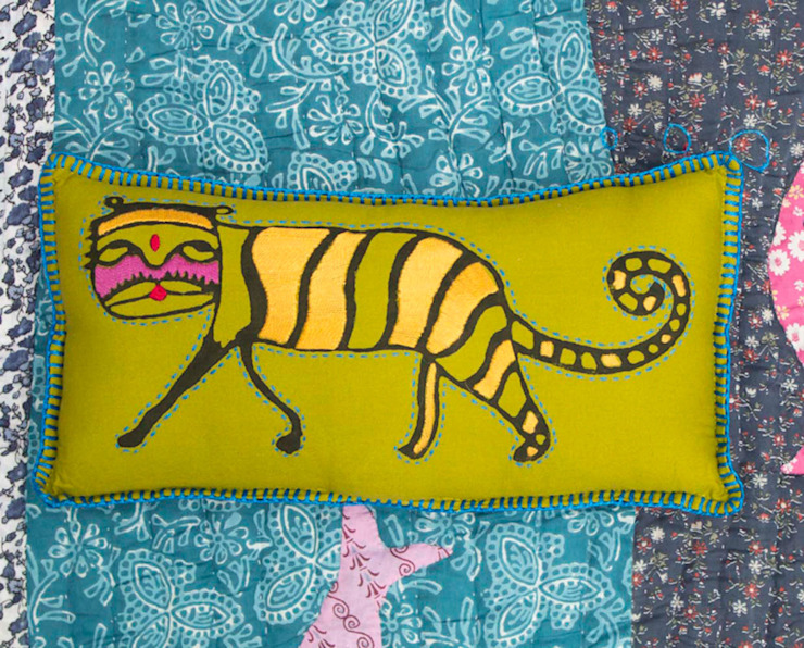 Kids Pillow Green Tiger: asian  by DesignRaaga, Asian