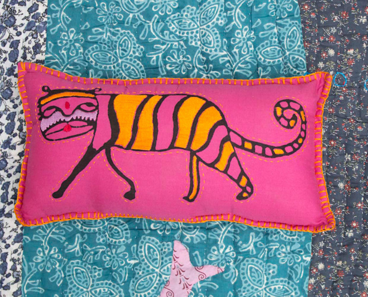 Kids Pillow Pink Tiger: asian  by DesignRaaga, Asian