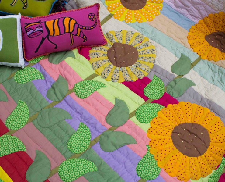 Patchwork Quilt Sunflower: asian  by DesignRaaga, Asian