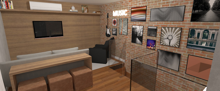 Apartamento Descolado:  industrial por Carolina Mendonça Projetos de Arquitetura e Interiores LTDA,Industrial