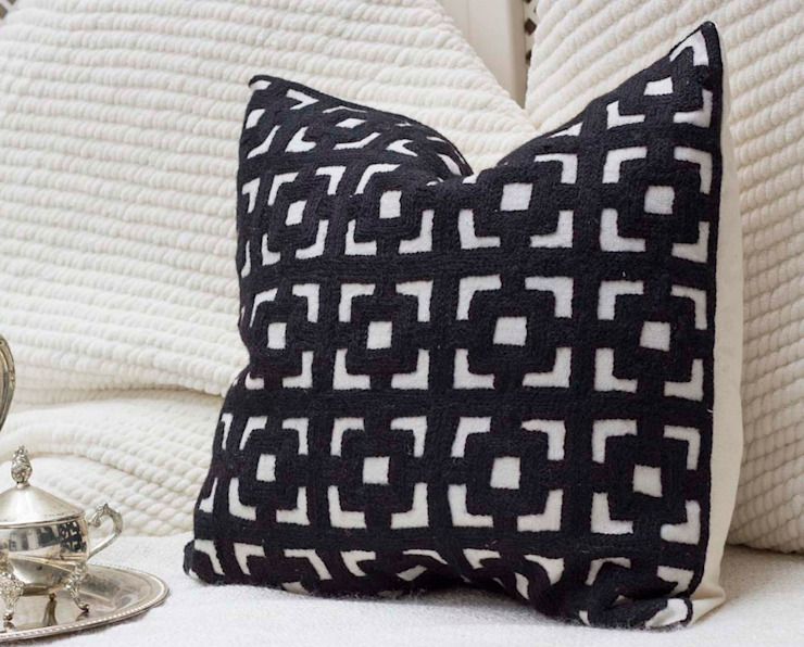 Crewel Embroidery Throw Pillow Black: eclectic  by DesignRaaga, Eclectic