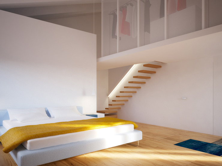 Chambre minimaliste par POINT. ARCHITECTS Minimaliste