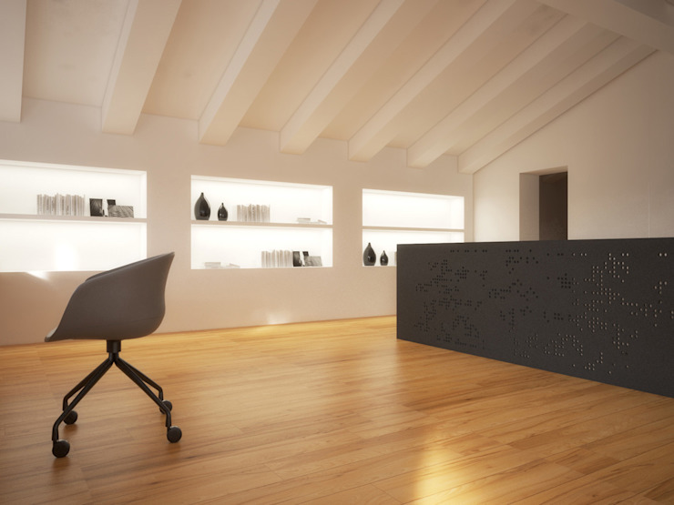 Bureau minimaliste par POINT. ARCHITECTS Minimaliste