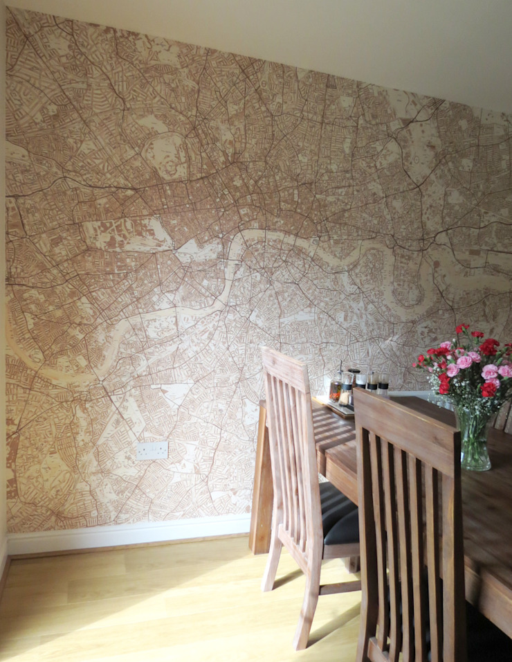Custom Printed Sepia Street Map of London Wallpaper Classic style dining room by Wallpapered Classic