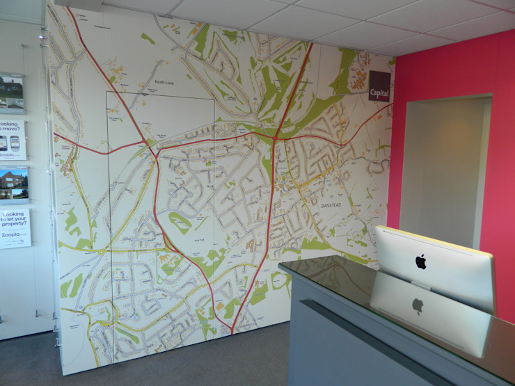Custom Map wallpaper installed in an estate agency office by Wallpapered Eclectic