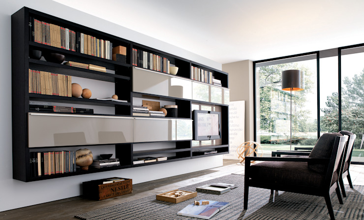 Wall hung TV unit and bookcase. Also with hidden storage. de Lamco Design LTD Moderno