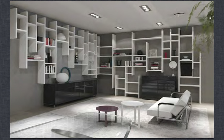 Wall hung random bookcase and sideboards : modern  by Lamco Design LTD, Modern