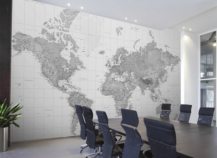 Black and White World Map di Wallpapered Classico