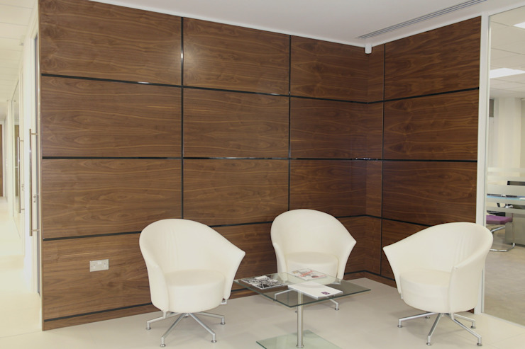 Walnut Artizo Wall Panels With Black Gloss Moulding Modern study/office by The Wall Panelling Company Modern