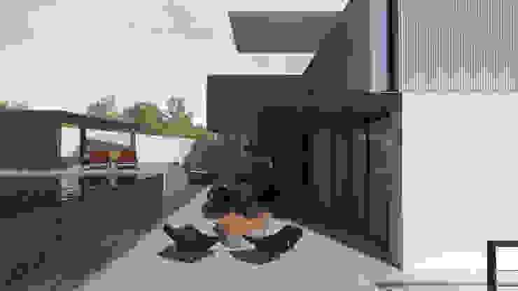 Casa Contêiner Varandas, alpendres e terraços modernos por K+S arquitetos associados Moderno