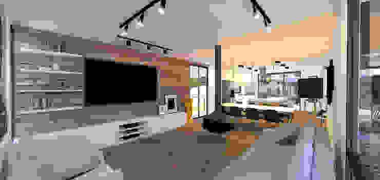 Casa Contêiner Salas de estar modernas por K+S arquitetos associados Moderno