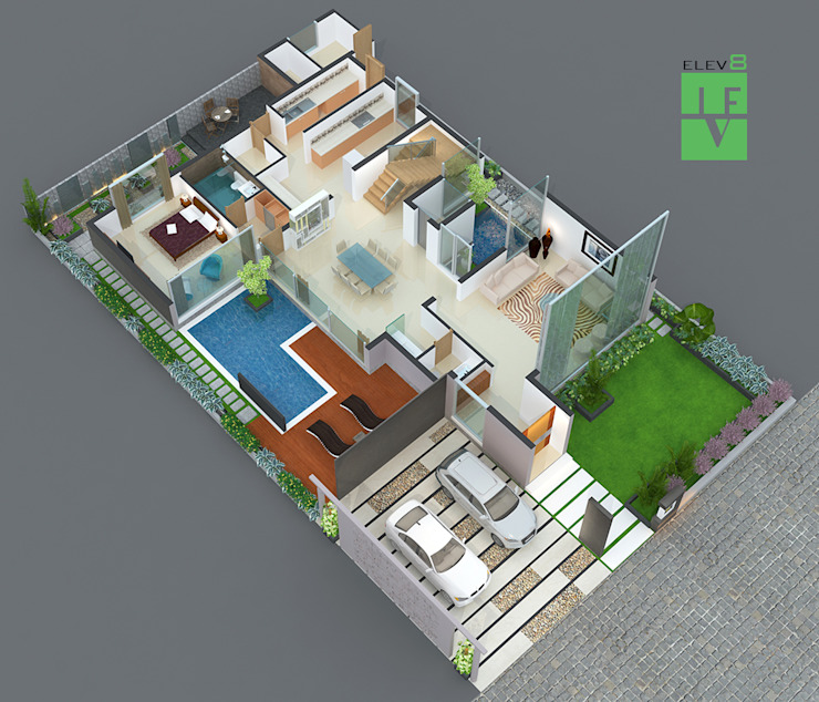 3d sliced floor plan by 3F Architects