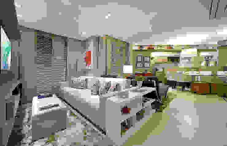 Apartamento integrado em Londrina Salas de estar rústicas por Evviva Bertolini Rústico