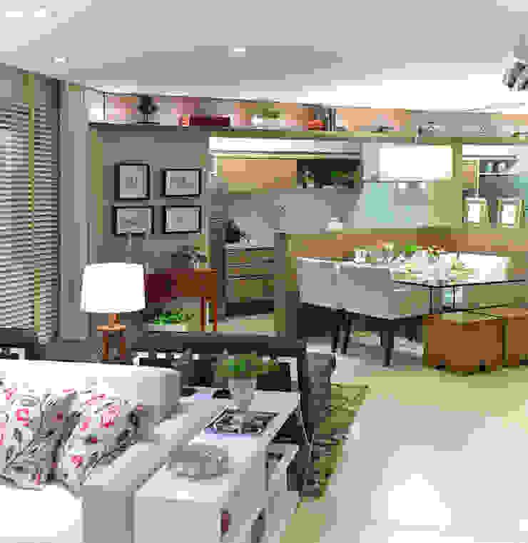 Apartamento integrado em Londrina Salas de jantar rústicas por Evviva Bertolini Rústico