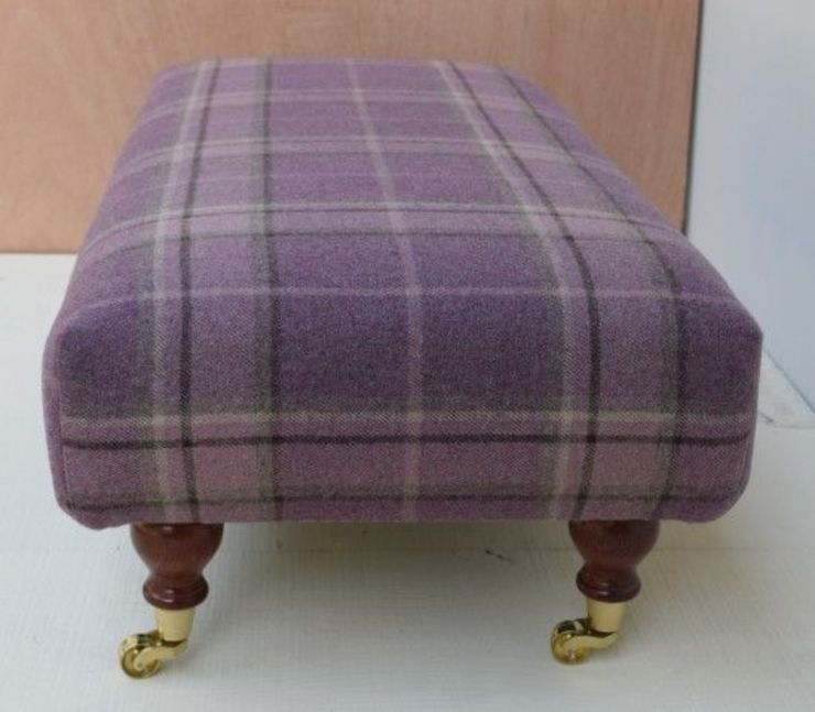 Highland Check Grape - Sewn footstool 93 x 46cm: country  by Herts Upholstery , Country