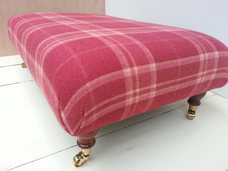 Highland Check Cranberry - Folded Corners Footstool 105 x 62cm: country  by Herts Upholstery , Country