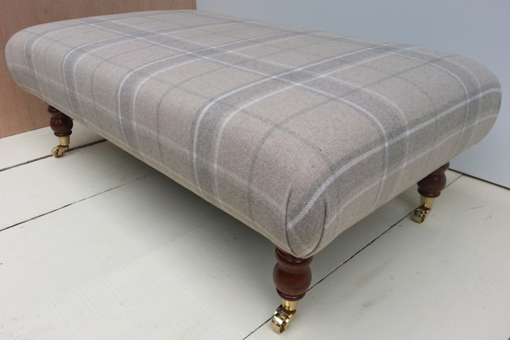 Highland Check Natural - Folded Corners Footstool 105 x 62cm: country  by Herts Upholstery , Country