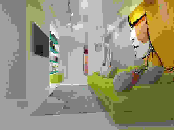 Квартира в ЖК Антарес. Гостиная в стиле минимализм от Tutto design Минимализм