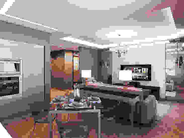 Квартира в стиле фьюжн Гостиные в эклектичном стиле от Дизайн студия 'Чехова и Компания' Эклектичный