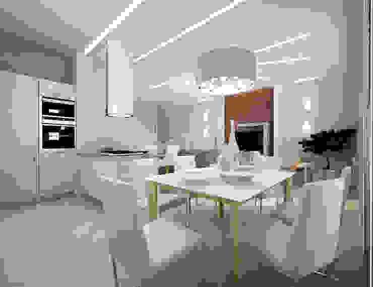 Белое белым Кухня в стиле минимализм от Дизайн студия 'Чехова и Компания' Минимализм