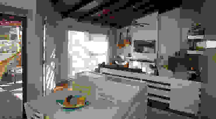 Sala de Estar - ambiente churrasqueira Salas de estar modernas por Quadrilha Design Arquitetura Moderno