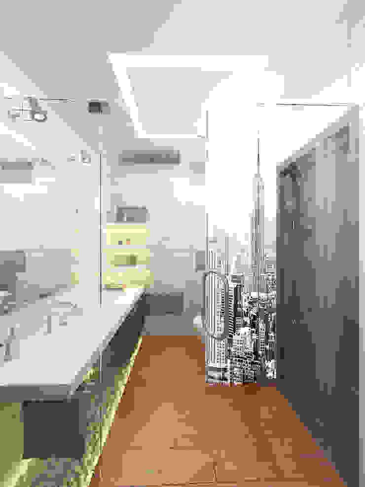 Дерево и бетон Ванная в стиле лофт от Дизайн студия Александра Скирды ВЕРСАЛЬПРОЕКТ Лофт