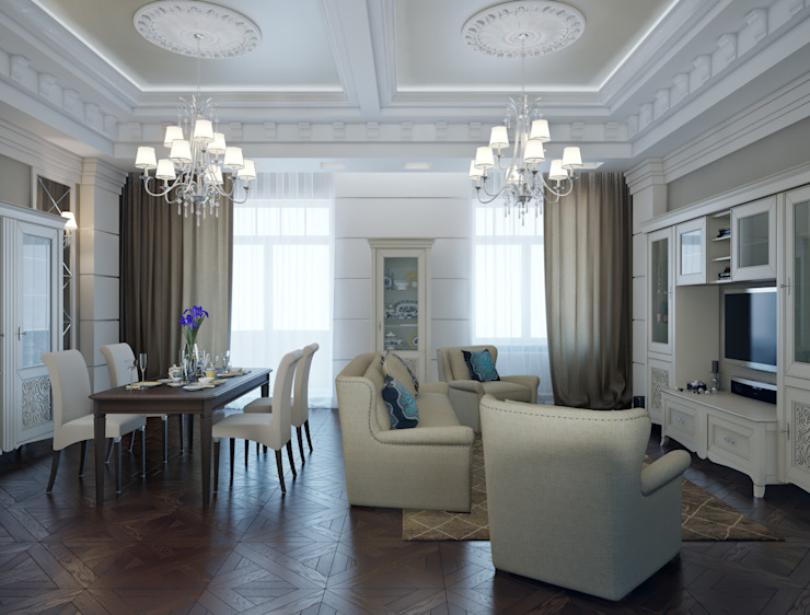 квартира на Аптекарской набережной Гостиная в классическом стиле от EJ Studio Классический