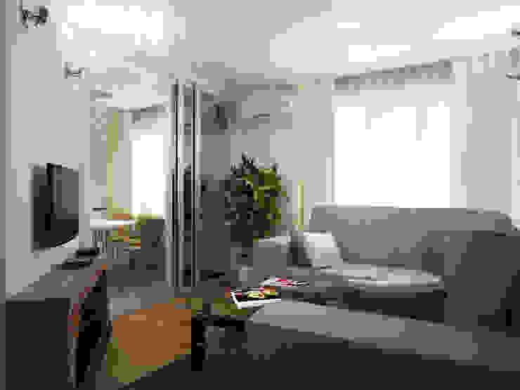 Переработка квартиры 1962 года Гостиные в эклектичном стиле от Дизайн студия Александра Скирды ВЕРСАЛЬПРОЕКТ Эклектичный