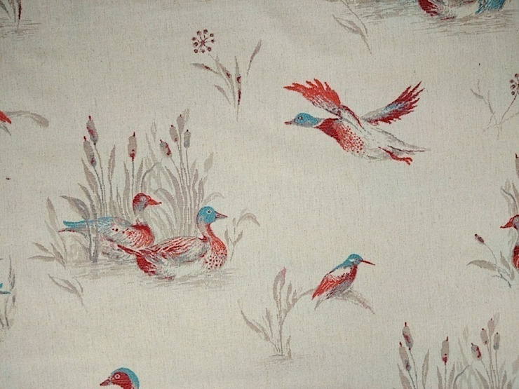 Flying Ducks Linen Cotton Tapestry Fabric Red Blue: country  by The Millshop Online, Country