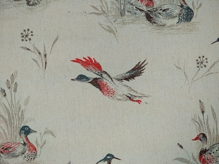Flying Ducks Linen Cotton Tapestry Red Grey Fabric: country  by The Millshop Online, Country