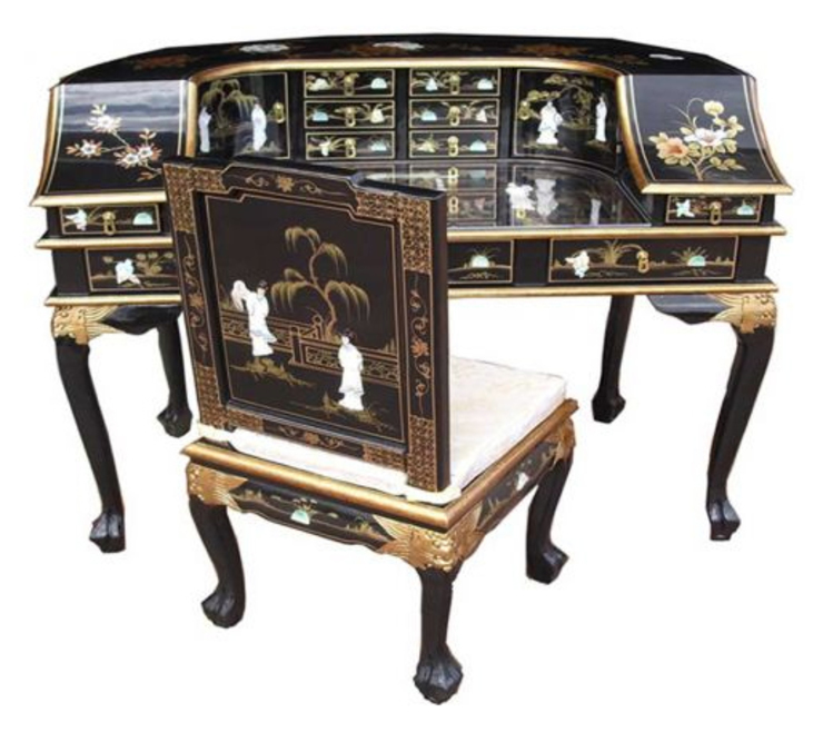 Chinese Lacquer Desk & Chair: asian  by Asia Dragon  Furniture  from London, Asian