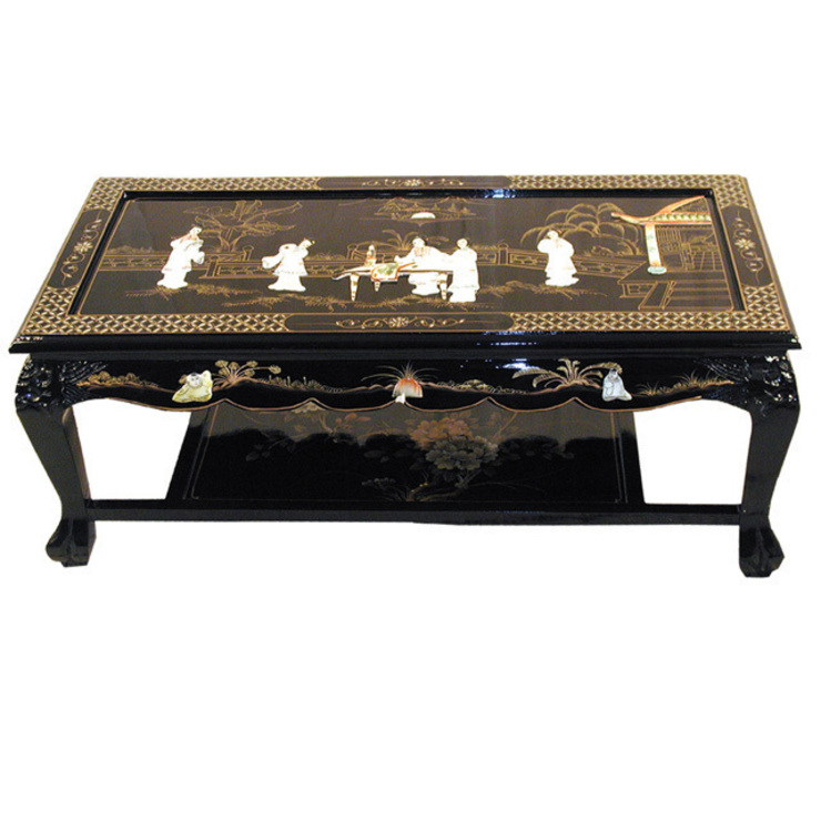 Chinese Black Lacquer Mother of Pearl Furniture ~ Ornately Decorated with Ladies & Gold Leaf : asian  by Asia Dragon  Furniture  from London, Asian