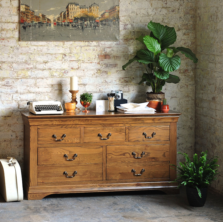 Toulouse Dark Oak 3 over 4 Drawer Chest The Cotswold Company BedroomWardrobes & closets