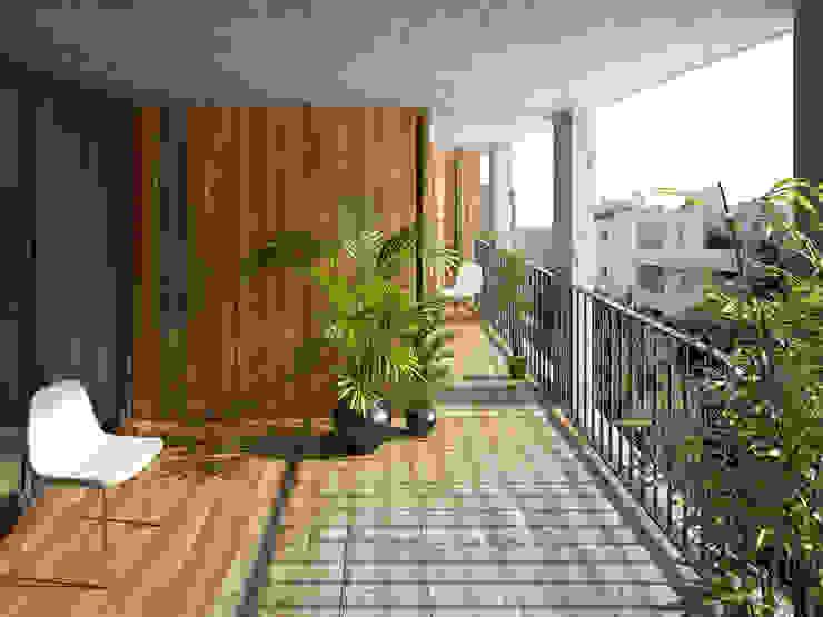 Vue d'une loggia Balcon, Veranda & Terrasse modernes par atelier calas architecture Moderne